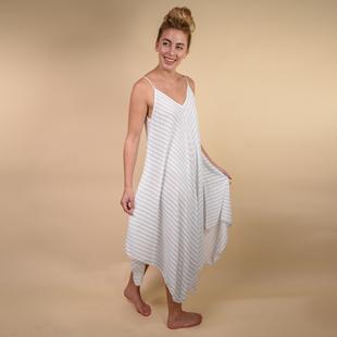 TAMSY 100% Viscose  Herringbone Stripe Asymmetrical Hem Dress One Size, (Fits Size 8-18 ) - White