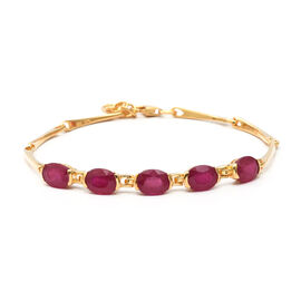 9.18 Ct African Ruby 5 Stone Adjustable Bracelet in Gold Plated Sterling Silver 6.92 Grams
