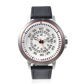 STRADA Japanese Movement Water Resistance Watch with Date in Stainless Steel - Black