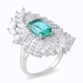 ELANZA Simulated Apatite (Oct), Simulated Diamond Ring in Rhodium Overlay Sterling Silver, Silver wt 7.63 Gms.