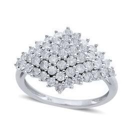 9K White Gold Diamond SGL Certified (I3/G-H) Cluster Ring 1.5 Ct.