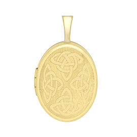 9K Yellow Gold Oval Celtic Locket Pendant, Gold wt 1.60 Gms