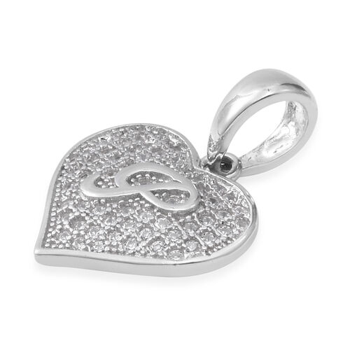 ELANZA Simulated Diamond (Rnd) Heart with Initial P Pendant in Rhodium Overlay Sterling Silver