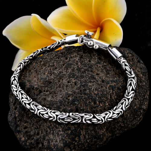 Royal Bali Collection Sterling Silver Borobudur Chain Bracelet (Size 7.5), Silver wt 23.00 Gms