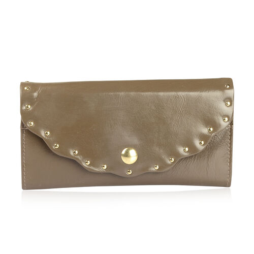 Genuine Leather RFID Blocker Mushroom Colour Wallet (Size 19X10 Cm)