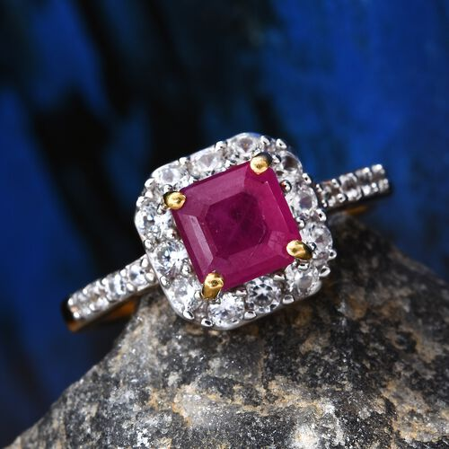 African Ruby (Oct 6x6mm), Natural Cambodian Zircon Ring in 14K Gold Overlay Sterling Silver 2.00 Ct.