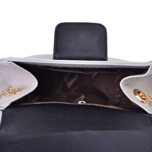 Sofia Grey and Black Colour Block Crossbody Bag with Chain Strap (Size 20x15x10 Cm)