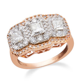 New York Close Out 2 Carat Princess and Round Brilliant Cut Diamond Ring in 14K Rose Gold 6 Grams