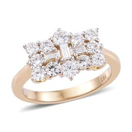 ILIANA 18K Yellow Gold IGI Certified Diamond (Rnd and Bgt) (SI / F-G) Boat Ring 1.00 Ct.