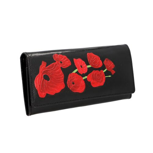 SUKRITI 100% Genuine Leather Poppy RFID Wallet (Size 21.59x11.43cm) - Black