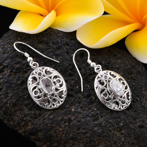 Royal Bali Collection Polki Diamond Hook Earrings in Sterling Silver 0.75 Ct.