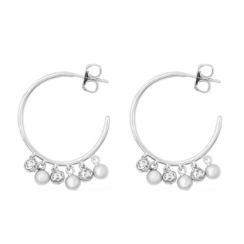 RACHEL GALLEY Bold Lattice Collection - Rhodium Overlay Sterling Silver Dangling Lattice Ball Earrings (with Push Back), Silver wt. 8.72 Gms