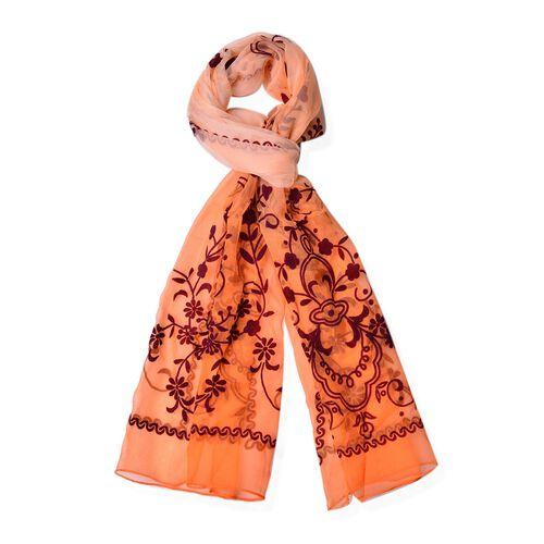 100% Mulberry Silk Blue Colour Velvet Floral Pattern Carrot Red Colour Scarf (Size 170X50 Cm)