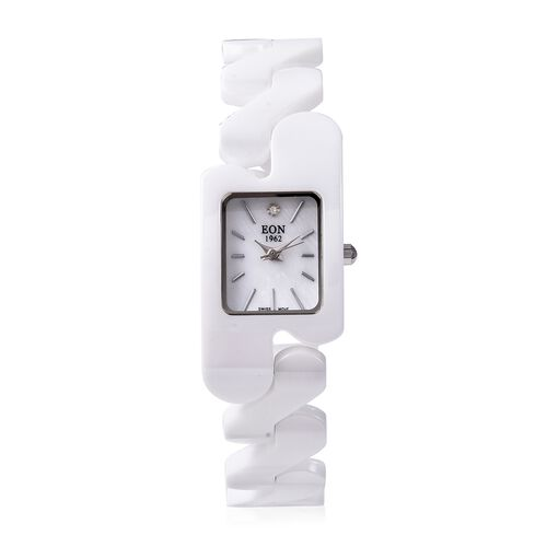 EON 1962 Swiss Movement Water Resistance Diamond Studded Rectangular Watch with White Mother of Pear