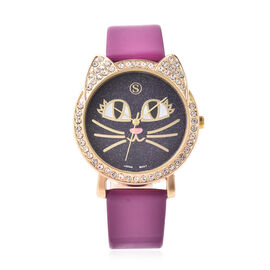STRADA Japanese Movement White Austrian Crystal Studded Kitty Face Dial Water Resistant Watch with P