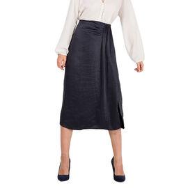 Nova of London Front Pleat Midi Skirt in Navy Colour