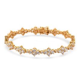 J Francis 14K Gold Overlay Sterling Silver Bracelet (Size 7.5) Made with SWAROVSKI ZIRCONIA 11.96 Ct