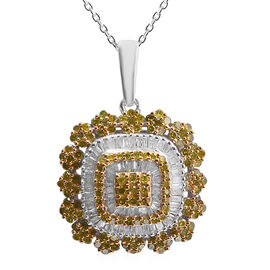 1 Carat Yellow Diamond and Diamond Cluster Pendant with Chain in Platinum and Gold Plated Silver