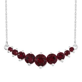 J Francis Crystal from Swarovski - Ruby Colour Crystal (Rnd) Necklace (Size 18) in Sterling Silver