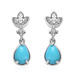 Arizona Sleeping Beauty Turquoise (Pear), Natural Cambodian Zircon Drop Earrings (with Push Back) in