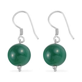 23.85 Ct Verde Onyx Solitaire Drop Earrings with Hook in Platinum Plated Silver