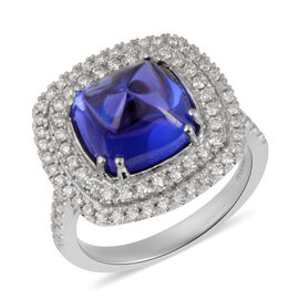 RHAPSODY 950 Platinum AAAA Tanzanite and Diamond Ring 6.45 Ct, Platinum wt 9.30 Gms
