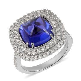 RHAPSODY 950 Platinum AAAA Tanzanite and Diamond Ring 6.45 Ct, Platinum wt 9.30 Gms