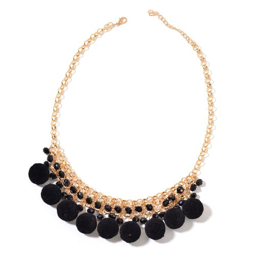 Black Colour Pom Pom Necklace (Size 20) with Simulated Black Diamond  in Yellow Gold Tone