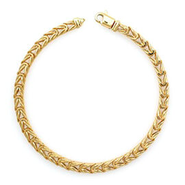 Vicenza Collection 7.5 Inch Foxtail Bracelet in 9K Gold 8.03 Grams