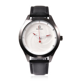 STRADA Japanese Movement Watch with Black Strap in Silver Tone