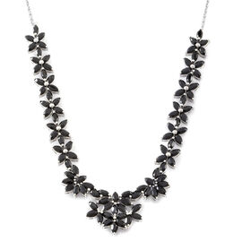 Boi Ploi Black Spinel (Mrq) Floral Necklace (Size 18) in Rhodium Plated Sterling Silver 17.000 Ct. Silver wt 16.75 Gms.