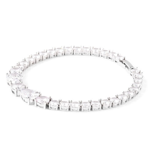 Simulated Diamond Tennis Bracelet (Size 8) in Silver Tone
