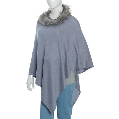 100% Cashmere Wool Grey Colour Pashmina Poncho (Size 70x70 Cm)