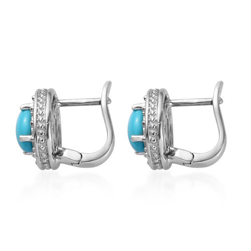 Tucson Close Out - AA Arizona Sleeping Beauty Turquoise (Ovl), Natural Cambodian Zircon Stud Earrings (with Clasp) in Platinum Overlay Sterling Silver 2.50 Ct.