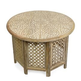 NAKKASHI - Hand Carved Solid Mango Wood Round Table in White Finish (Size 45x70 Cm)