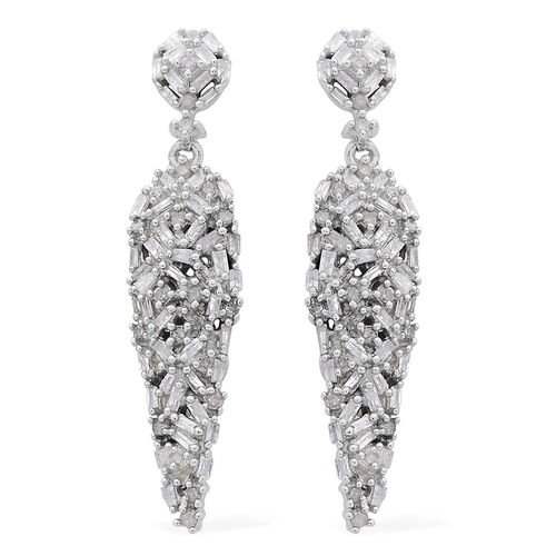 Diamond (Bgt) Earrings (with Push Back) in Platinum Overlay Sterling Silver 1.000 Ct.