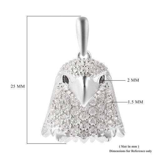 J Francis - Rhodium Overlay Sterling Silver Boi Ploi Black Spinel Eagle-Head Pendant made with SWAROVSKI ZIRCONIA 1.47 Ct.