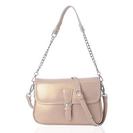 HONG KONG CLOSE OUT DEAL- 100% Genuine Leather Beige Metallic Colour Crossbody Bag with External Zip