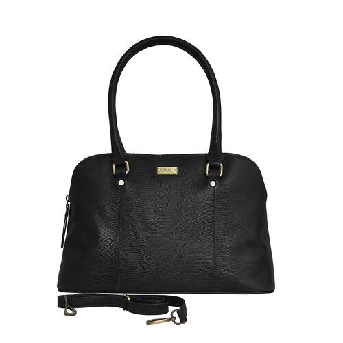 Assots London SYDNEY Lizard Designer Genuine Leather Grab Bag with Detachable and Adjustable Shoulder Strap (Size 36x13x24 Cm) - Black
