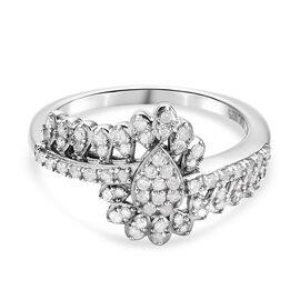 GP Diamond and Kanchanaburi Blue Sapphire Ring in Platinum Overlay Sterling Silver 0.36 Ct.