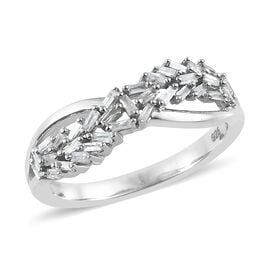 Diamond (Taper Bagguet) Ring in Platinum Overlay Sterling Silver 0.250 Ct