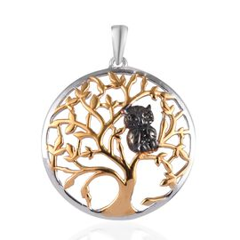 Boi Ploi Black Spinel (Rnd) Tree and Owl Pendant in Yellow Gold, Platinum and Black Plated Overlay S