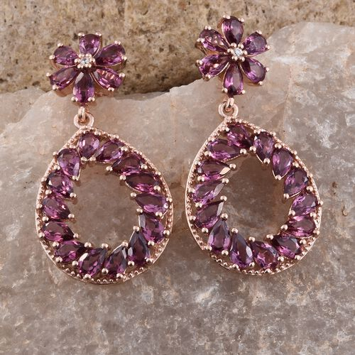 Rhodolite Garnet (Pear), Natural Cambodian Zircon Teardrop Earrings (with Push Back) in Rose Gold Overlay Sterling Silver 10.500 Ct. Silver wt. 7.46 Gms.