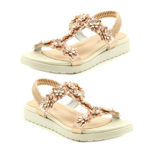 Heavenly Feet Santana Floral Detail Sandals in Rose Gold (Size 3)