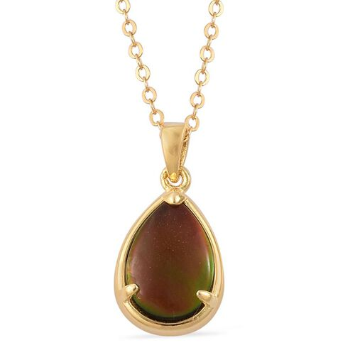 Canadian Ammolite (Pear) Solitaire Pendant With Chain in Yellow Gold Overlay Sterling Silver 1.500 Ct.