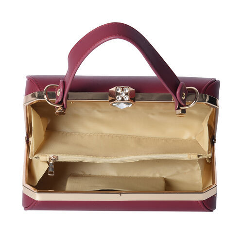 BOUTIQUE COLLECTION Wine Red Colour Clutch Bag with Detachable and Adjustable Shoulder Strap with Crystal Studded Top Knob (Size 26x13x14 Cm)