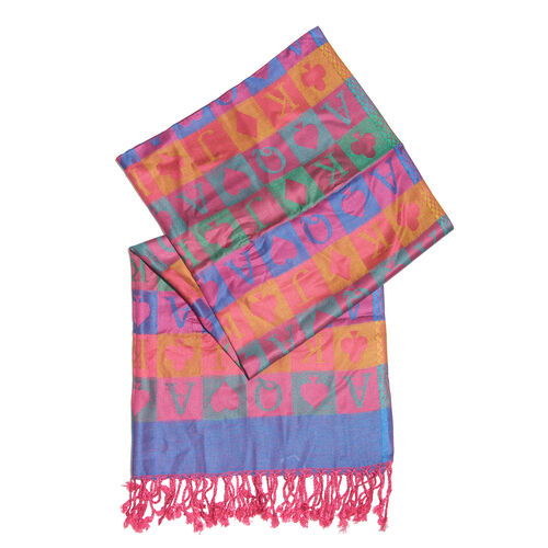 Pink and Multi Colour Playing Card Pattern Scarf (Size 180x70 Cm)
