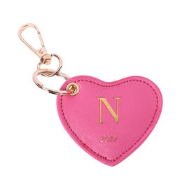 Pink Genuine Leather Heart Shaped Initial N Key Chain (7x6cm)