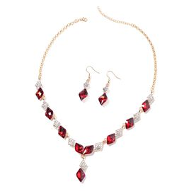 Simulated Red Garnet and White Austrian Crystal Necklace (Size 20 with 2.5 inch Extender) and Hook E