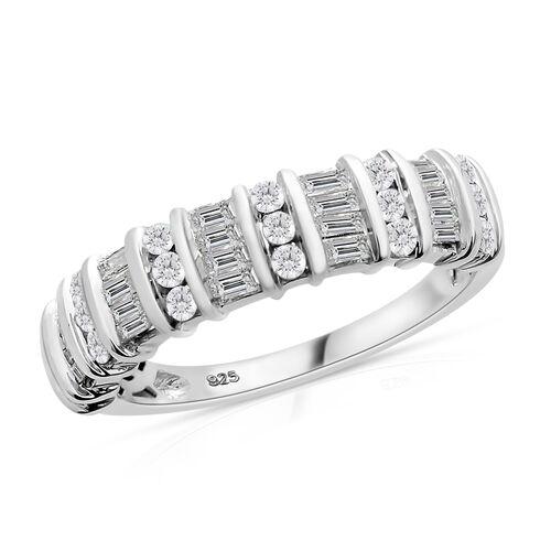 Designer Inspired - Diamond (Bgt and Rnd) Ring in Platinum Overlay Sterling Silver 0.750 Ct.